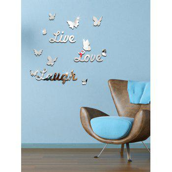 Letter Butterfly Removable Mirror Wall Sticker
