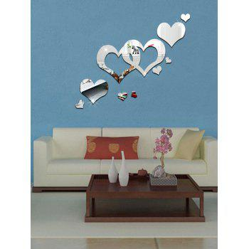Hollowed Heart Removable Mirror Wall Sticker - SILVER SILVER