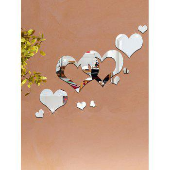 Hollowed Heart Removable Mirror Wall Sticker -  SILVER