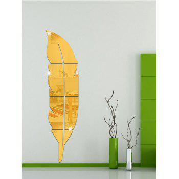 Removable Feather Mirrored Wall Sticker - GOLDEN GOLDEN