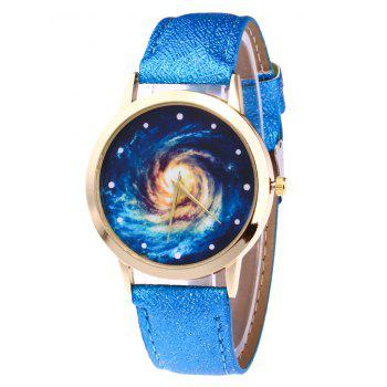 Faux Leather Vortex Starry Watch - BLUE BLUE
