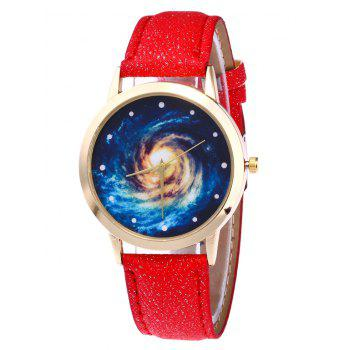 Faux Leather Vortex Starry Watch - RED RED