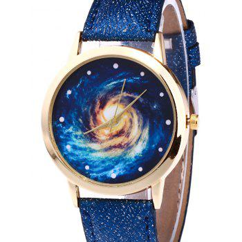 Faux Leather Vortex Starry Watch -  RED
