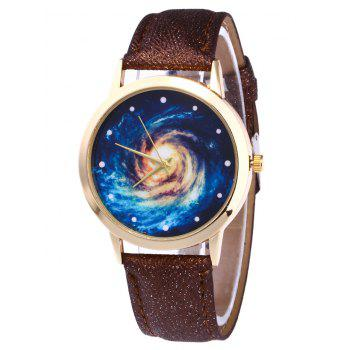 Faux Leather Vortex Starry Watch - BROWN BROWN