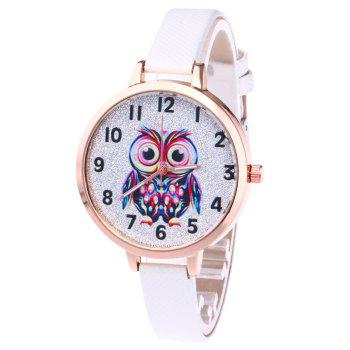 Faux Leather Owl Glitter Watch - WHITE WHITE