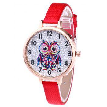 Faux Leather Owl Glitter Watch - RED RED