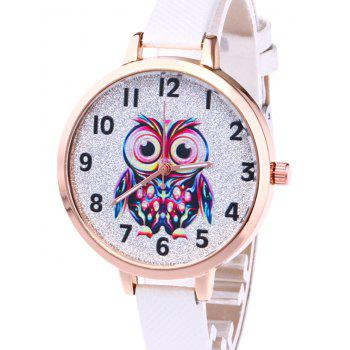 Faux Leather Owl Glitter Watch -  RED