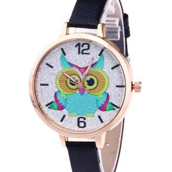 Owl Faux Leather Glitter Watch - BLACK