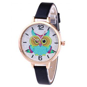 Owl Faux Leather Glitter Watch - BLACK BLACK