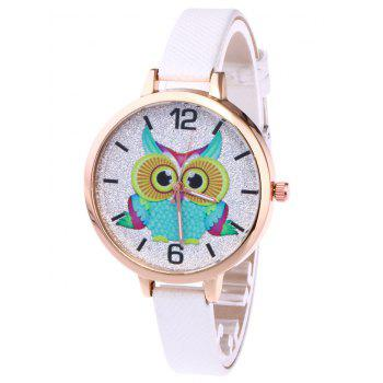 Owl Faux Leather Glitter Watch - WHITE WHITE