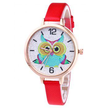 Owl Faux Leather Glitter Watch - RED RED