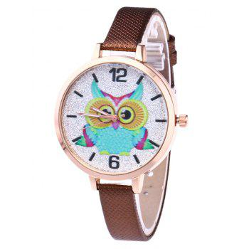 Owl Faux Leather Glitter Watch - BROWN BROWN