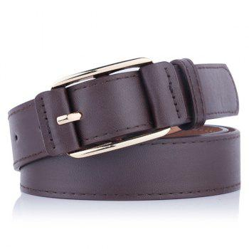 Faux Leather Plain Pin Buckle Belt - COFFEE COFFEE