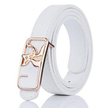 Artificial Leather Metal Double Foxes Buckle Belt - WHITE WHITE