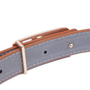 Artificial Leather Metal Double Foxes Buckle Belt - BROWN