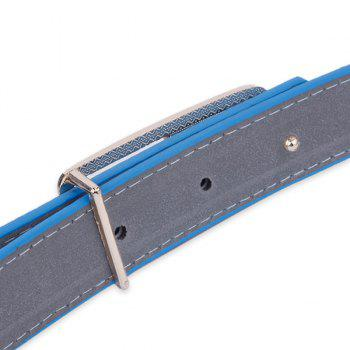Faux Leather Double Flowers Buckle Belt -  BLUE