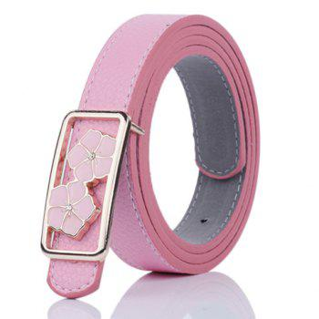 Faux Leather Double Flowers Buckle Belt - PINK PINK