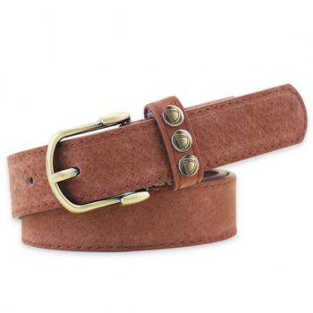 Retro Rivet Embellished Faux Suede Belt - COFFEE COFFEE
