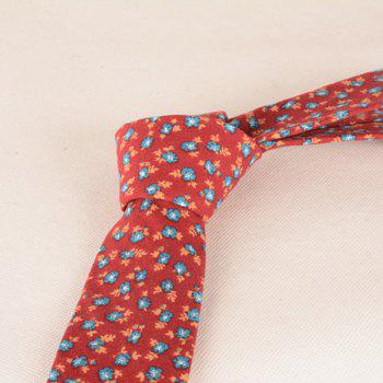 Flowers Printed Neck Tie -  RED