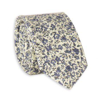 Floral Pattern Vintage Cotton Neck Tie - BLUE BLUE