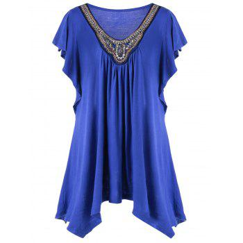 Plus Size Butterfly Sleeve Asymmetrical T-Shirt - BLUE 4XL