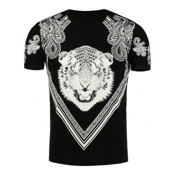 Paisley and Tiger Print T-Shirt - BLACK BLACK