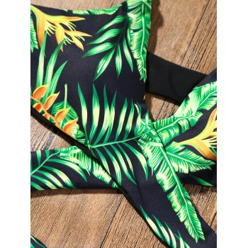 Plunge Strappy Bikini with Tropical Printed - GREEN GREEN