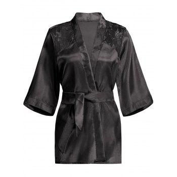 Lace Panel Sommeil Wrap Robe