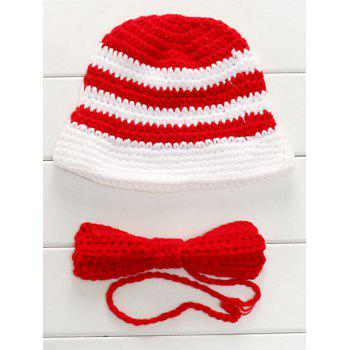 Handmade Knit Sweater Baby Bow Tie and Stripe Hat
