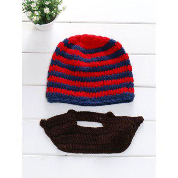 Winter Whimsy Manual Stripe Sweater Knitted Beard Hat Set