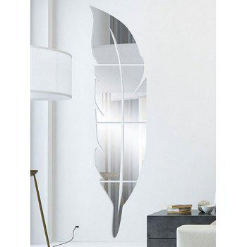 Feather Shaped Home Decor Mirror Wall Sticker - SILVER SILVER