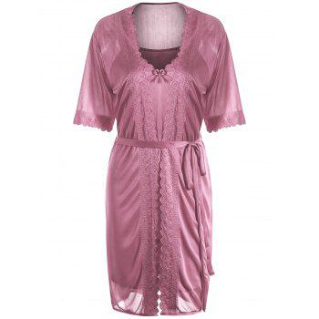 Scalloped Robe with Cami Babydoll - NUDE PINK ONE SIZE