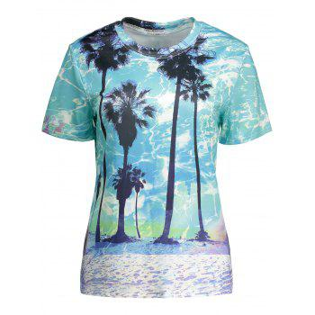 Short Sleeve Coconut Palm Print Tee