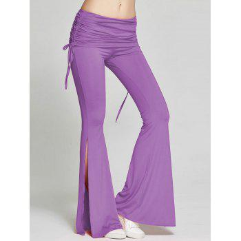 High Slit Flare Bell Bottom Yoga Pants - PURPLE PURPLE