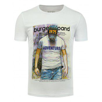 Crew Neck Stretchy Graphic T-Shirt