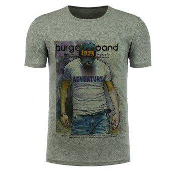 Buy Crew Neck Stretchy Graphic T-Shirt GRAY