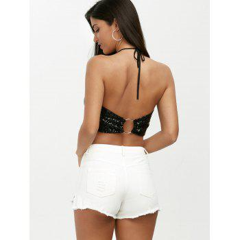 Backless Halter Sequins Crop Top