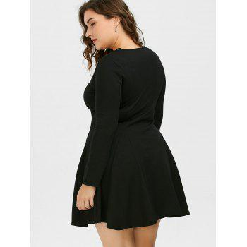 Cutout Plus Size Skater Dress with Long Sleeves - BLACK BLACK