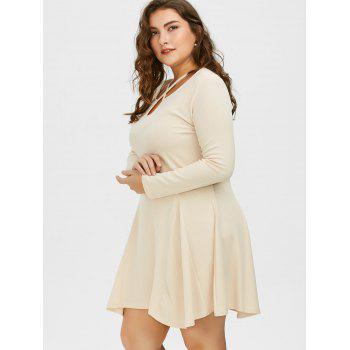 Plus Size Cutout Skater Dress with Long Sleeves - 3XL 3XL
