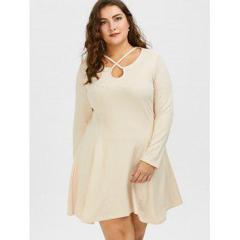 Plus Size Cutout Skater Dress with Long Sleeves - 4XL 4XL