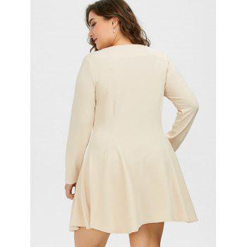 Cutout Plus Size Skater Dress with Long Sleeves - 4XL 4XL