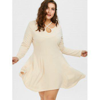Cutout Plus Size Skater Dress with Long Sleeves - 5XL 5XL