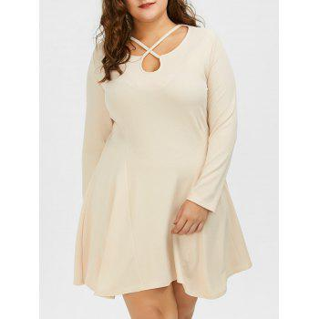 Plus Size Cutout Skater Dress with Long Sleeves - LIGHT KHAKI 5XL