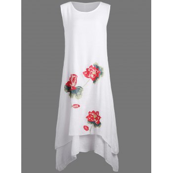Casual Linen Dress with Lotus Flower Print