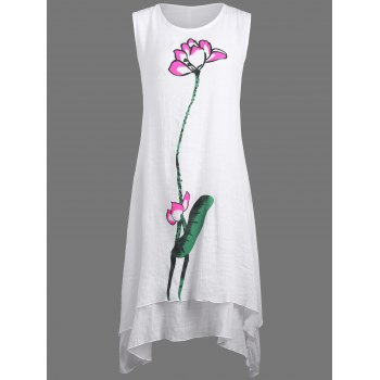 Casual Linen Dress with Lotus Flower Painting