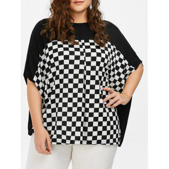 Batwing Sleeve Checked Plus Size Top