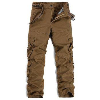 Pockets Embellished Buttons Design Cargo Pants
