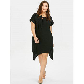 Plus Size Pussy Bow Chiffon Asymmetric Dress - 4XL 4XL