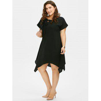 Plus Size Pussy Bow Chiffon Asymmetric Dress - BLACK 4XL
