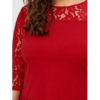Lace Trim Plus Size Mermaid Dress - RED RED